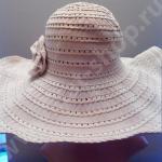 Шляпка хлопко-полиэстэровая тёмно-бежевая с большими полями с фиксатором