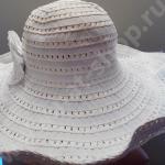 Шляпка хлопко-полиэстэровая кремовая с большими полями с фиксатором